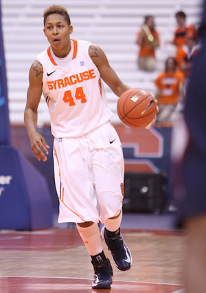 Carmen Tyson-Thomas comes off the bench for the Orange and ranks second on the team with 11.9 points per game and third with 5.3 rebounds per game.
