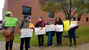 Syracuse University students gathered to march in support of the N.Y. Dream Act in November.